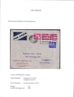 (French Reunion) Air France/Air Afrique, into Reunion, 21/8 St Dennis arrival, from Marseille via Tananarive 23/7 and Tamatave 25/7, commercial airmail etiquette corner cover correctly rated 65c postage and 3F airmail surcharge (5g).  Flown by Air France to Algiers then by Air Afrique to Madagascar. Written up on exhibition page with nice route, airline carrier and postage rate documentation.