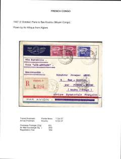 (French Congo) Air France/Air Afrique, into Bas Kouilou, Middle Congo, 9/10 arrival cds, via Pointe Noire 7/10, registered (label) airmail etiquette cover correctly rated 65c overseas postage, 2F airmail surcharge (5g), and 1F50 registration fee.  Flown by Air France to Algiers and OAT by Air Afrique. Written up on exhibition page with nice route, airline carrier and postage rate documentation.