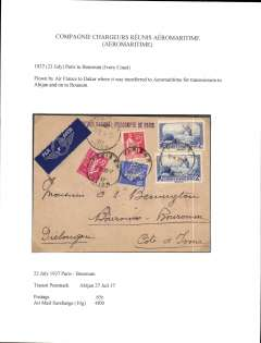 (French Ivory Coast) Air France/Aeromaritime, into Boroum, Ivory Coast, via Abijan 27/7, airmail etiquette cover correctly rated 65c overseas postage and 4F airmail surcharge (10g),  Flown by Air France to Dakar and then by Aeromaritme to Abijan and on to Bouroum. Written up on exhibition page with nice route, airline carrier and postage rate documentation.