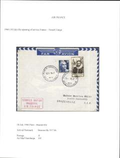 (France) Post WWII resumption of France-Belgian Congo airmail service, Paris to Leopoldville, bs 19/7,  airmail etiquette cover franked 13f (3F postage, 10F airmail surcharge), red framed 'Service Rapide/Inaugural/Air France'. Exhibition quality cover written up on display page.