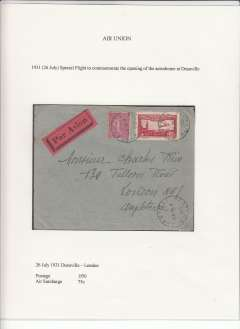 (France) Air Union special flight to commemorate opening of aerodrome at Deauville, Duaville to London, plain etiquette cover franked 1f50 postage and 75 air Surcharge. Only 35 flown. Displayed on exhibition page with text documenting  the postage rates applied to this particular item - important supplementary data which would otherwise be difficult to gather.