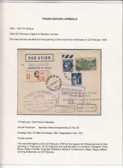 (France) Air Afrique, Trans-Sahara airmail, France acceptance for F/F Algiers to Bamako, French Sudan, via Gao, bs 22/2, registered (label), imprint etiquette cover franked 65c postage, 2F airmail surcharge and 1F50 registration, flight cachet. Displayed on exhibition page with text documenting  the carrier airline(s), the route, and the postage rates applied to this particular item - important supplementary data which would otherwise be difficult to gather.