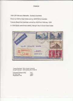 (France) If not first, a very early acceptance of mail from France for carriage by KLM to Batavia, Dutch East Indies and OAT by Quantas to Australia, Marseille to Sydney, bs 10/3, registered (label) airmail etiquette cover franked 1F75 overseas postage, 13F50 air surcharge and 2f registratiion. France was offered Australian airmail by KLM in February 1935. Displayed on exhibition page with text documenting  the carrier airline(s), the route, and the postage rates applied to this particular item - important supplementary data which would otherwise be difficult to gather.