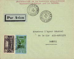 (French Congo) F/F French Congo to Oubangi-Chari, bs 30/10, airmail etiquette cover correctly franked 50c postage and 1F airmail surcharge. Inauguaration of Brazzaville-Bangui branch line following the by-pass of Brazzaville by new Sabena and Air Afrique services to Elisabetthville and Madagascar. An uncommon item, and one for the exhibit..