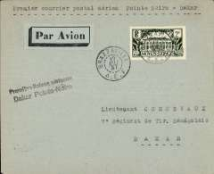 (French Congo) Aeromaritime F/F Pointe Noire to Dakar 23/5, airmail imprint etiquette coverer correctly franked 50c postage and 1F50 air surcharge,  canc Brazzaville 19/5, black two line flight cachet. Rail from Brazzaville to Pointe Noire, then OAT to Dakar.