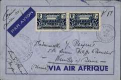 (French Congo) Air Afrique, WWII censored cover, Bangui to Neuilly sur Sein, blue/dark blue Air Afrique imprint etiquette cover free franked Franchise Militaire + 3F airmail surcharge (overfranked 50c), black double ring 'Afrique Equatoriale Francaise, code E (Ubangi-Chari) censor mark. WWII censored covers are uncommon.