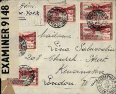 """(French Congo) Brazzaville to London via New York, WWII dual censored cover, correctly rated 2F25 postage to Europe + 22F (1F75 verso) to Europe via New York, canc Brazzaville 21 Jul 4? (actual year illegible), ms """"Par Avion/via New York"""", black framed 'Avion' hs, sealed GB PC90 OBE censor tape,  black double ring 'Afrique Equatoriale Francaise, code A (Middle Congo) censor mark. Likely Free French Military Airline orLignes Aerienne Militaire to West Coast, the Pan Am FAM 18 to New York before OAT to Great Britain. Scarce item.."""