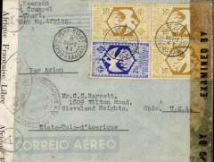 """(French Congo) Free French WWII dual censored cover from Port Sibut, French Congo to Ohio, USA, via Bangui 9/9 and Brazzaville 23/9, imprint etiquette air cover correctly franked 2F50 postage an 15f airmaill Free French stamps, canc Port Sibut,typed 'Par Avion',black double ring 'Afrique Equatoriale Francaise, code A (Middle Congo) censor mark, sealed black/white """"Afrique Francaise Libre/Controle Postal"""" censor tape tied by """"Ouvert lPar L'autoritי Militaire"""" censor mark, also Miami EB censor tape. Flown to West Coast by Lignes Aerienne Militaire (a military airline flying under the flag of the Free French Army and was joined by Cameroon and French Equatorial Africa after the fall of France in 1940); or by the Sabena/BOAC Khartoum-Bangui-Takoradi service. Then OAT to Miami by FAM 18."""