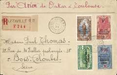 (French Congo) Cie Generale Aeropostale, early airmail, Brazzaville to Colombes, France, bs 25/11, registered (label) cover correctly franked 50c postage, 1F registration and 3F Air surcharge, surface to Boma, by sea to Dakar, and CGA to Toulouse and on to Paris.