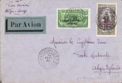 (French Congo) Regie Air Afrique, return of the 8th experimental flight between Brazzaville and Algiers carrying mail and BCG (anti-tuberculosis vaccine, piloted by Capt. Jean Dagnaux, airmail etiquette cover correctly franked 50c postage only, NO airmail surcharge, canc Brazzaville cds, ms 'Par Avion/Alger-Congo'.