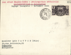 (French Congo) Regie Air Afrique,  Brazzaville-Tamatave, Madagascar , bs 18/11, carried on F/F Algiers-Madagascar extension from Elisabethville to Tananarive, plain cover franked 50c postage (no air surcharge).