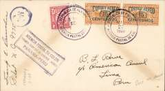 (Panama) PANAGRA F/F Colon to Lima (Peru), bs 27/5, plain cover franked 32c canc 'Republica de Panama/Agencia Postal de Colon' double ring cds, purple framed 'Panama-Peru' flight cachet. 162 pieces carried from Colon. Signed by the pilot Frank E. Ormsbee.