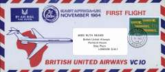 (Kenya) British United Airways VC10 F/F East Africa-United Kingdom, no arrival ds, attractive blue/red/ pale blue souvenir cover, 10x20cm, franked 1.30, canc Narobi/8 NO 64.