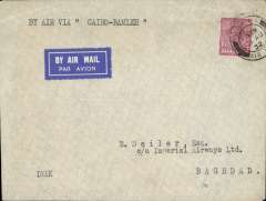 (GB External) Imperial Airways, F/F The Ramleh-Baghdad Auxiliary Service, Croydon to Baghdad, bs 5/9, imprint airmail etiquette cover franked 6d, canc 'London/31 Aug 32/Air Mail' cds. An additional airmail dispatch for Iraq leaving on a Wednesday, flown to Cairo by the direct England-South Africa service, then by train to Ramleh, and finally by air to Baghdad. This short lived service lasted only eleven flights. See Wingent p80. Nice item.