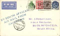 (GB External) GB-South Africa precursor, the first British acceptance for the F/F South African Union Airways Cape Town/Port Elizabeth/Bloemfontain/Jo'burg internal airmail service.  London to Blomfontein, bs 28/8, via Pretoria 27/8, plain cover franked 1929 UPU set to 2 1/2d, canc London FS cds, blue three line 'By South African/Air Mail From/Capetown' hs.. Carried from London to Cape Town by a Union Castle Mail Ship, then OAT by Union Airways.