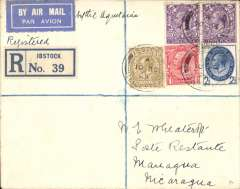 (GB External) London to Nicaragua, first acceptance of UK mail for carriage via  S.S. Aquitania to New York, then US internal air service to Managua, bs 23/10, Wheatcroft registered (label) cover franked 1/9/ 1/2d, blue/white airmail etiquette.