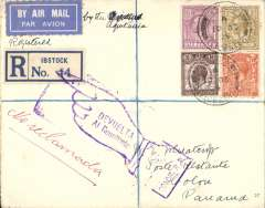 (GB External) London to Panama, first acceptance of UK mail for carriage via  S.S. Aquitania to New York, then US internal air service to Colon bs 24/10, Wheatcroft registered (label) cover franked 1/9/ 1/2d, blue/white airmail etiquette.