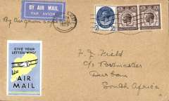 "(GB External) GB-South Africa precursor, the first British acceptance for the F/F South African Union Airways Cape Town/Port Elizabeth/Bloemfontain/Jo'burg internal airmail service.  London to Durban, bs 26/8, plain cover franked 5 1/2, blue/yellow IAW 'Give Your Letter Wings' vignette on front, airmail etiquette tied by Tooting, London cds, ms ""By Air from Cape Town"". Carried from London to Cape Town by a Union Castle Mail Ship, then OAT by Union Airways.Francis Field authentication hs verso."