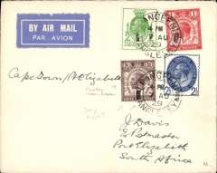 "(GB External) GB-South Africa precursor, the first British acceptance for the F/F South African Union Airways Cape Town/Port Elizabeth/Bloemfontain/Jo'burg internal airmail service.  London to Port Elizabeth, bs 26/8,  plain cover franked 1929 UPU set to 2 1/2d, blue/white airmail etiquette Carried from London to Cape Town by a Union Castle Mail Ship ""Saxon"", then OAT by Union Airways."