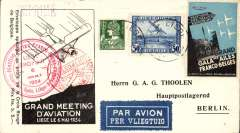 (Belgium) Liege Aviation Meeting, special exhib label, red Lufthansapost cds, cachet ds,per vliegtuig etiquette, b/s, official cacheted pc, meeting vignette tied by Liege cds.