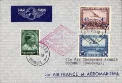 (Belgium) Belgium acceptance for F/F Paris to Cotonau, Dahomey, no arrival ds, red diamond cachet, Air France/Aeromaritime printed cover franked 4F50.