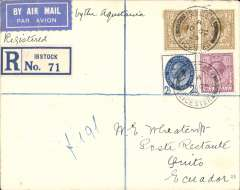 (GB External) London to Ecuador, first acceptance of UK mail for carriage via  S.S. Aquitania to New York, then US internal air service to Quito, bs 1/11, Wheatcroft registered (label) cover franked 2/8 1/2d, blue/white airmail etiquette.