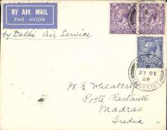 (GB External) Imperial Airways, London to Madras, bs 10/1/30, carried on the first mail following the official announcement of the UK-India route extension to Delhi, Wheatcroft cover franked 8 1/2d, canc Ibstock cds,