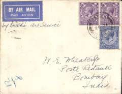 (GB External) Imperial Airways, London to Bombay, bs 8/1/30, carried on the first mail following the official announcement of the UK-India route extension to Delhi, Wheatcroft cover franked 8 1/2d, canc Ibstock cds,