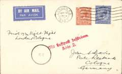 "(GB External) First night flight London to Cologne, red framed ""Mit Luftpost befordern/Koln 2"" arrival hs, plain airmail etiquette cover franked 4 1/2d, ms ""First Night Flight/London Cologne.."