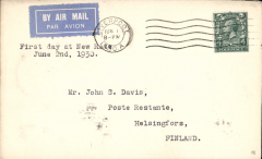"(GB External) Imperial Airways, London to Helsinki, bs 3/6, via Malmo 2/6, first service at the new 4d per oz. rate, plain imprint etiquette cover, typed""1st day at New Rate/June 2nd 1939"". Not easy to find."