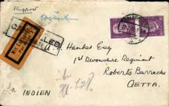 (Germany) Germany to 1st Devonshire Regiment, Quetta, bs 31/8, a rather grubby cover franked 80pf, yellow/black airmail etiquett cancelled by black framed Jusqu'a applied in Karachi. Uncommon destination.