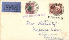 "(South Africa) First acceptance of mail from South Africa for carriage on the RANA F/F from Salisbury (Southern Rhodesia) to Blantyre ( Nyasaland), Johannesburg to Chickwawa, bs 11/3, plain cover franked South Africa 4d & 1d, canc Houses of Parliament Cape Town 6th March 1934, black/dark blue airmail etiquette, violet ""First Flight Official Air Mail"" and black two line ""S.Rhodesia/Nyasaland"" cachets."