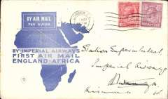 (GB External) F/F  London to Kisumu, Imperial Airways House cachet, par avion etiquette, b/s, souvenir 'blue map' cover, Imperial Airways.