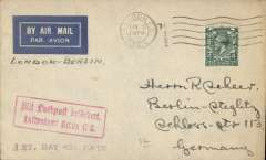 (GB External) Imperial Airways, London to Berlin,  bs 3/6,  first service at the new 4d per oz. rate, red framed 'Mit Luftpost befordert/Luftpostamt Berlin C2' receiver, plain imprint etiquette cover, Not easy to find.