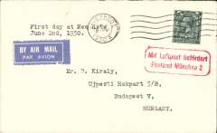 "(GB External) Imperial Airways, London to Budapest,, bs 3/6, via Munich 2/6, first service at the new 4d per oz. rate, plain imprint etiquette cover, typed""1st day at New Rate/June 2nd 1939"", red framed Munchen 2 receiver. Not easy to find."