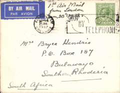 (GB External) F/F, London to Bulawayo, (Southern Rhodesia), bs 1/2, plain non-philatelic cover franked 9d.