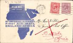 (GB External) London to Butiaba, bs 12/3, via Kampala 9/3, flown on F/F Croydon-Mwanza, blue/white souvenir 'map' cover, Imperial Airways