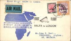 "(Sudan) Imperial Airways F/F Wadi Halfa to London, bs Anglesy 20/3, carried on return of inaugural London to East Africa service, black Halfa -London ""biplane"" cachet, blue/white 'map' cover franked 2P 10ml.  By rail Cairo-Alexandria (Pullman Express) and Athens-Paris (Simplon Orient Express)."
