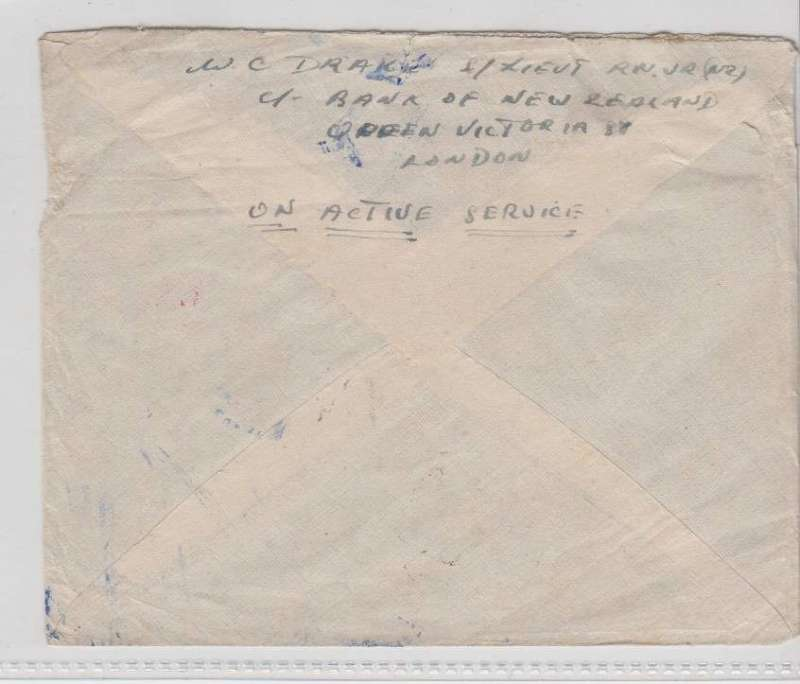 "(GB External) Wartime airmail, Pacific Clipper services up to the attack on Pearl Harbour, the 'air all the way' trans Pacific and trans Atlantic clipper service, censored cover, London to New Zealand, no arrival ds, franked 4/6d , canc Ipswich 17 Oct 41 cds, ms ""Air Mail/Trans Atlantic Airways/Trans Pacific Clipper"", red 'From HM Ship/Passed by Censor' hs. Correctly rated 4/6d for the two ocean clipper service to the UK. Carried by BOAC to Lisbon, FAM18 trans Atlantic service to USA, US internal air service to link with Pan Am in San Francisco then OAT by FAM19 to Auckland. The Pacific Clipper service opened on 3/7/40 when Italy entered the war and ceased after the Japanese attack on Pearl Harbour on 11/12/41. An attractive and important item in the study of wartime airmails."