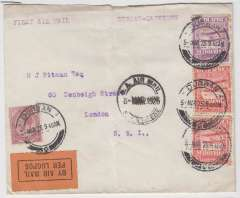 "(South Africa) Govt. Durban-Cape Town Experimental Airmail, Somerset West to East london, no arrival ds, franked 10d, canc black Durban 5 Mar cds, and black dr ""SA Air Mail/SA Lugpos/5 Mar 1925"" cachet, black/orange etiquette. Service terminated on June 15th. Centre fold and flap missing."