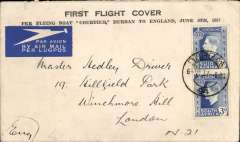 "(South Africa) First northbound all flying boat service per 'Courtier' via coastal route addressed to England,no arrival ds, franked 6d canc Durban cds, printed souvenir cover ""First Flight Cover/Per Flying Boat 'Courier', Durban to England, June 6th 1937"", Imperial Airways."