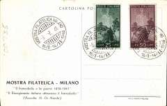 (Italy) Milan Philatelic Expo, publicity PPC franked 75L canc special Expo postmark.