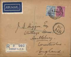 """(India) Imperial Airways, Bombay to London, bs 15/4, carried on first return service Karachi to London, a non philatelic cover franked 11 annas, black double ring circular """"By Air"""" hs."""