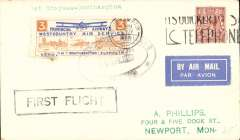"""(GB Internal) Provincial Airways Ltd, inauguration of the third GB Internal Airmail Service, """" West Country Air Service"""", London to Southampton, 3d orange bi-coloured vignette tied by Southampton 25 Nov 1933 machine cancel applied on arrival, framed """"First Flight"""" cachet, plain cover. The service operated for six days only. Francis Field authentication hs verso."""