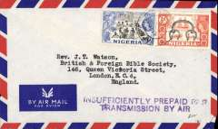 "(Nigeria) Lagos to London, airmail cover franked 4 1/2d, fine  strike violet two line hs ""Insufficiently Prepaid For/Transmission By Air"""