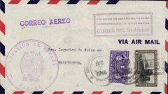 "(Panama) WWII  diplomatic airmail, Panama to Washngton, no arrival ds, airmail cover franked 9c (airmail surcharge), fine violet framed ""Free Postage Pan American"" (in Spanish),  large 'Legation de Espana/Panama' hs's front and back, violet 'Correo Aereo' hs."