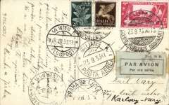 (Italy) Fiume to Czechoslovakia, bsCarlsbaad Vary, bs 2/5, via Vienna Flugpost 24/8 and Prague 2/5, sepia PPC showing Via Ipparco Baccic, Fiume, franked150c Italian stamps, canc 'Fiume/Correspondenze Ordinaire/23.8.33'  and 'Fiume Posta Aerea 23.8.33' cds's, grey/black Mod 24 R airmail etiquette. Fiume was incorporated into Italy on February 22, 1924, and used stamps of Italy until July 1945. Early airmails from Fiume are difficult to find.