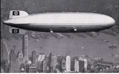 (Ephemera) Airship Hindenburg flying over New York, c1936, souvenir B&W photo PPC, unused. Great picture of ship and city.
