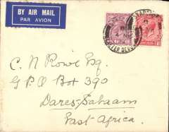 (GB External) Imperial Airways, Exeter to Dar es Salaam, bs 21/5, via Dodoma 19/5, non philatelic airmail etiquette cover franked 7d.