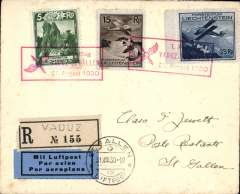 (Liechtenstein) F/F Vaduz to St Gallen, 31/8, special red depart hs, arrival ds on front, registered (label) cover franked 1930 air 15R & 35R and 5R ordinary, cancelled red framed special 31 Aug 1930 flight cachet., blue/black etiquette rated scarce, Mair,